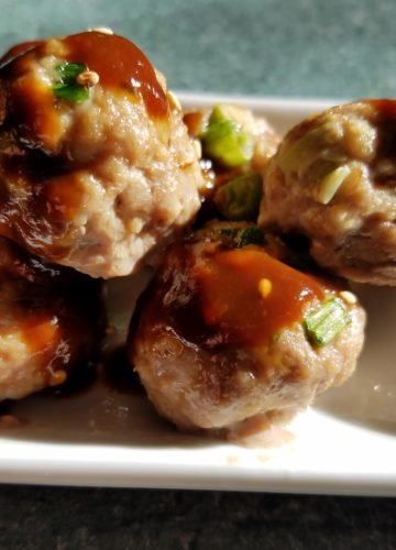 Asian Cocktail Meatballs Served Close-up
