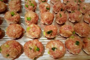Asian Cocktail Meatballs formed before baking