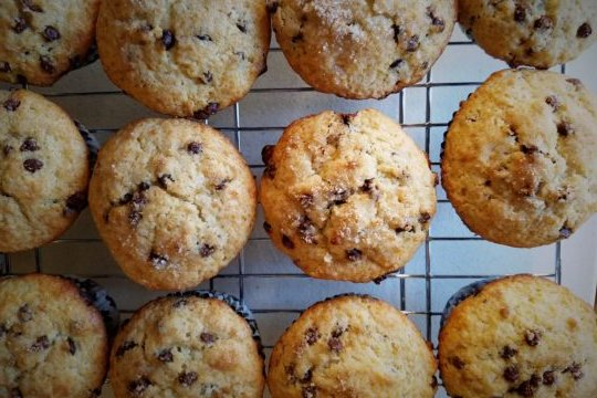 Chocolate Chip Muffins Served