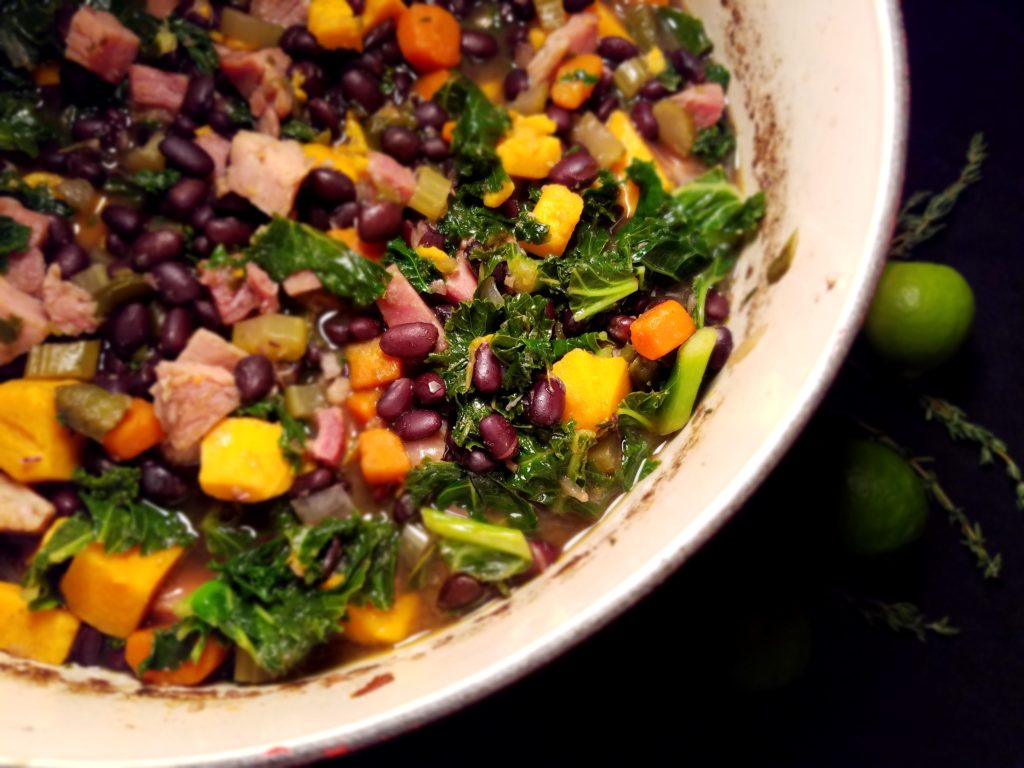 Black Bean Sweet Potato Stew in pot