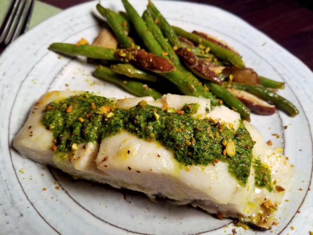 Sheet-Pan Roasted Halibut Green Beans and Mushrooms Served Cilantro Pesto