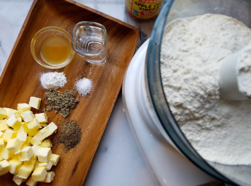 pie dough ingredients prepped for the food processor