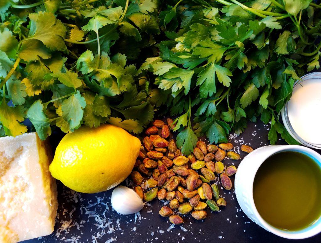 Cilantro Pistachio Pesto Ingredients