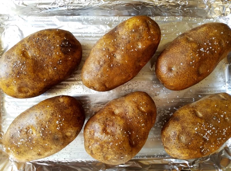 Large Russet Potatoes Prepped for Baking