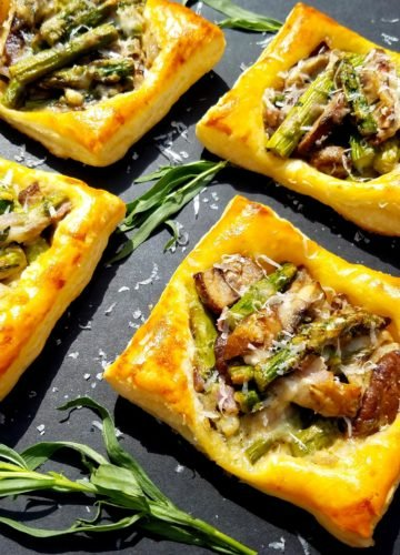 Asparagus and Mushroom Tarts with Goat Cheese and Tarragon