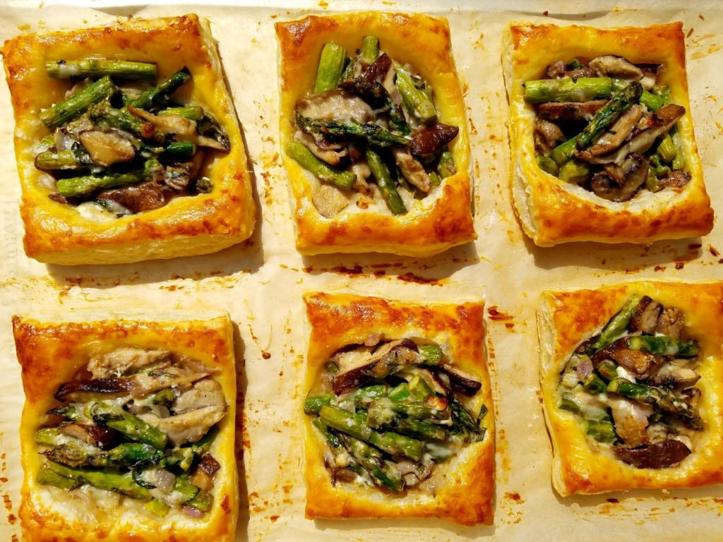Asparagus and Mushroom Tarts with Goat Cheese and Tarragon just Baked