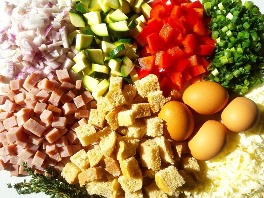 Cheesy Veggie and Ham Brunch Casserole Ingredients