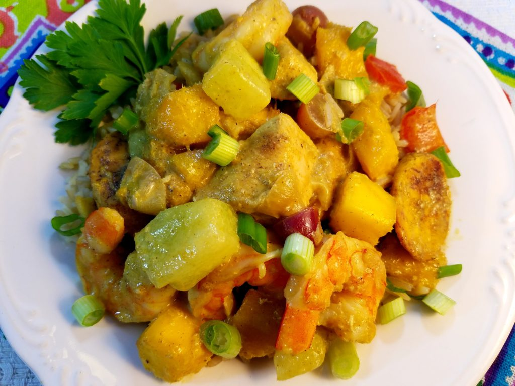 Curried Caribbean Chicken and Shrimp with Mango and Caramelized Plantains Plated