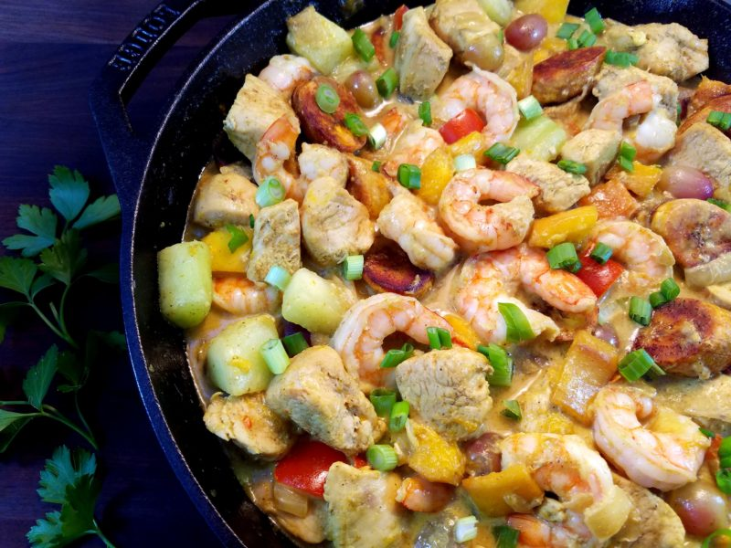 Curried Caribbean Chicken and Shrimp with Mango and Caramelized Plantains