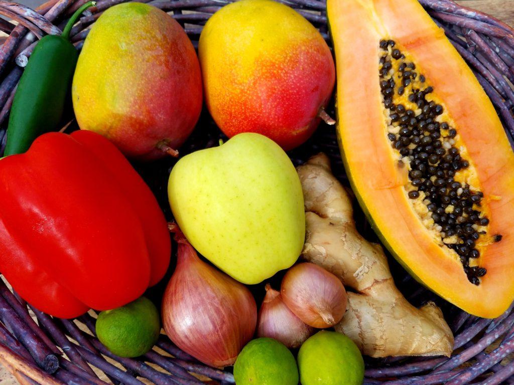 Roasted Mango and Papaya Chutney with Feta Fruit