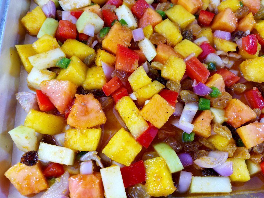 Roasted Mango and Papaya Chutney Fruit close up