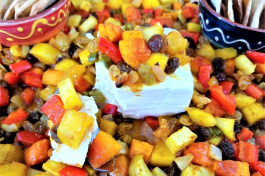 Roasted Mango and Papaya Chutney with Feta