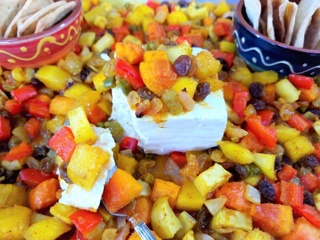 Roasted Mango and Papaya Chutney with Feta