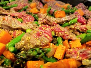 Sesame Beef Stir Fry Sirloin Browning with Vegetables