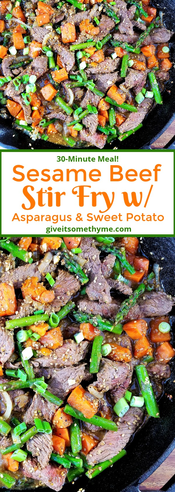 Sesame Beef Stir Fry w Asparagus & Sweet Potato | Give it Some Thyme
