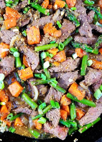 Sesame Beef Stir Fry with Asparagus & Sweet Potato | giveitsomethyme.com – jazz up busy weeknights with this quick and easy stir fry recipe of tender beef, asparagus and sweet potatoes coated in a tangy, garlicky hoisin sauce and on the table in 30 minutes! #stirfry #stirfryrecipes #asianrecipes #giveitsomethyme #sesamebeefstirfry #sesamebeefstirfryrecipes #beefstirfry #beefstirfryeasy #beefstirfryrecipes #quickandeasydinner #quickandeasydinnerrecipes #healthyfallrecipes