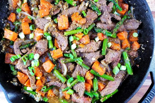 Sesame Beef Stir Fry with Asparagus and Sweet Potato