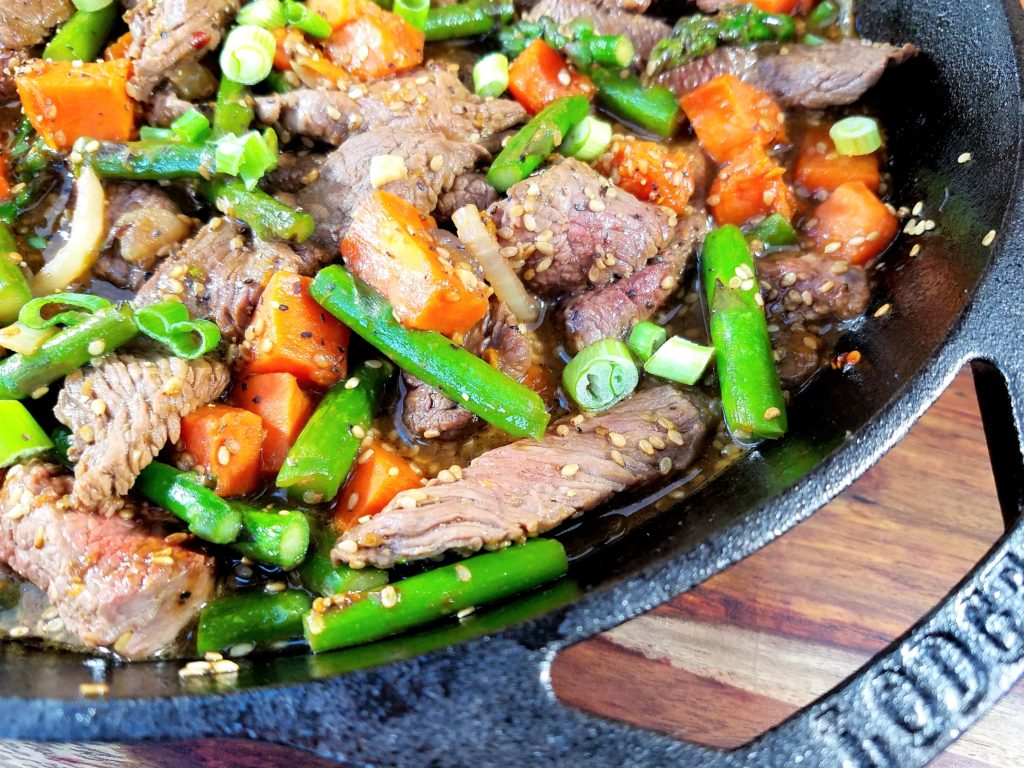 Sesame Beef Stir Fry with Asparagus and Sweet Potato Close-up