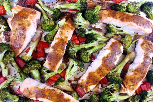 Roasted Salmon and Broccoli with Soy Mustard Glaze
