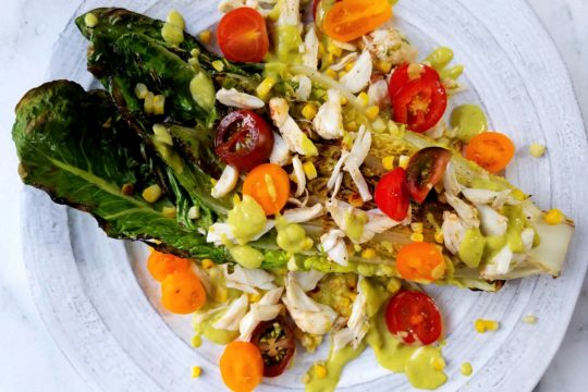 Grilled Romaine with Avocado Tomatillo Dressing and Crab