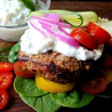 Lamb Burgers with Lemon Feta Tzatziki