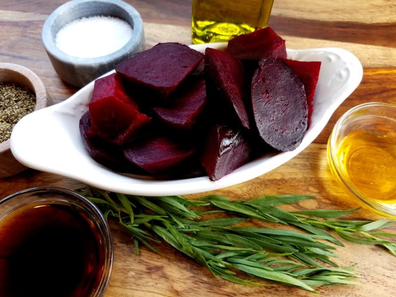 Beet puree ingredients on counter.