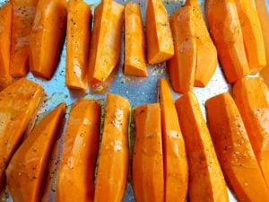 Sweet Potato Wedges Ready to Roast
