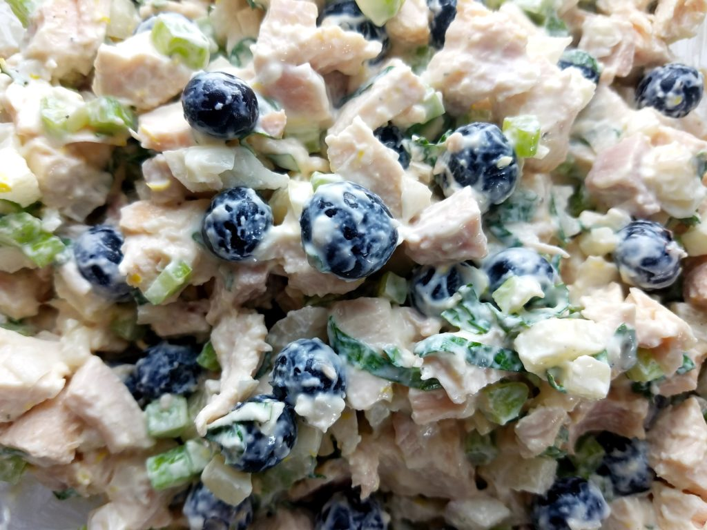 Blueberry Chicken Salad with Basil Mint Yogurt Dressing Combined