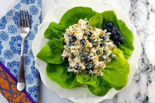 Blueberry Chicken Salad with Basil Mint Yogurt Dressing