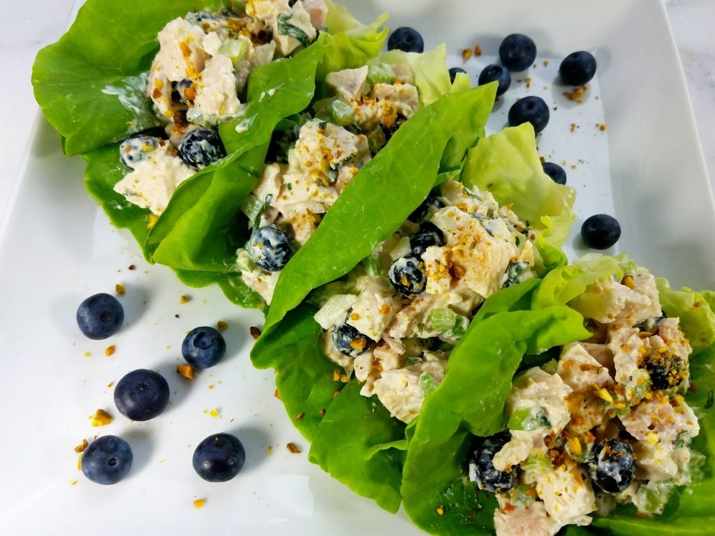 Blueberry Chicken Salad with Basil Mint Yogurt Dressing in Lettuce Wraps