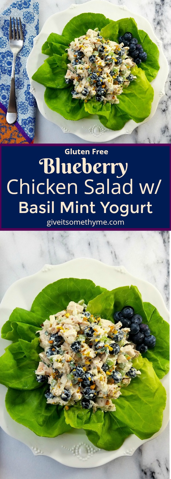 Blueberry Chicken Salad w/ Basil Mint Yogurt Dressing | Give it Some Thyme
