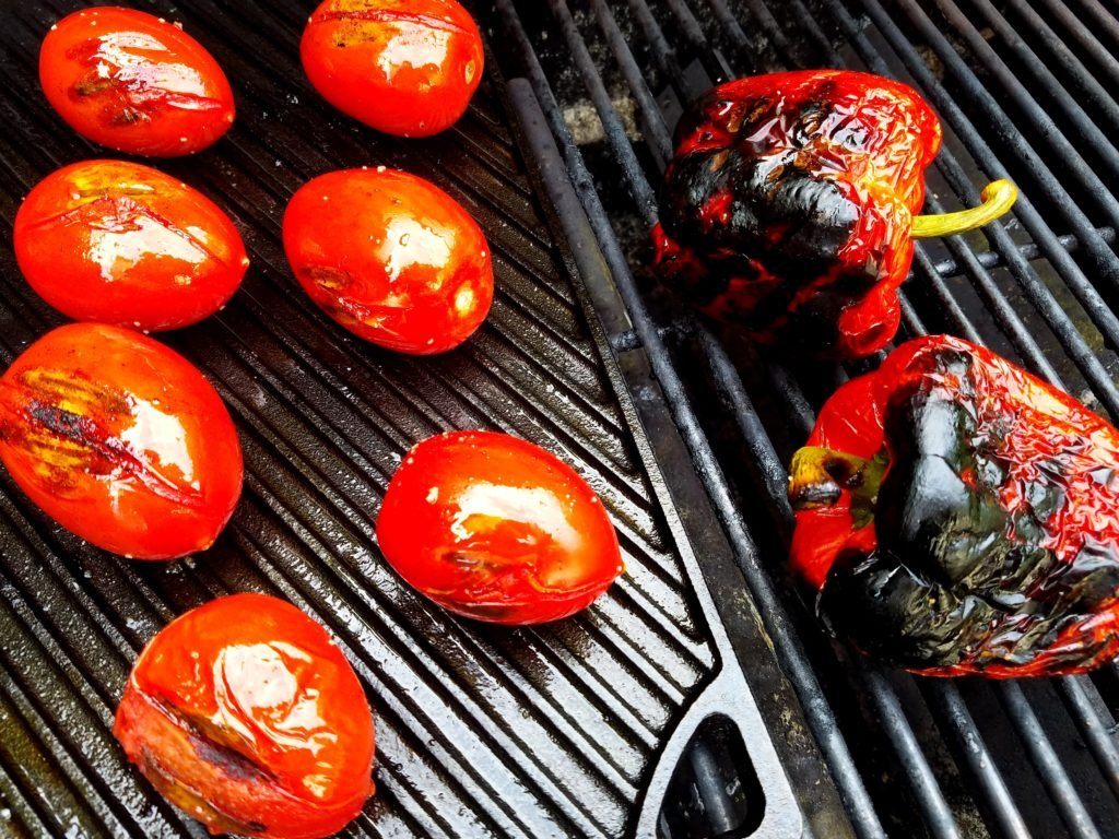 Grilled Tomato Gazpacho Vegetables Blistered and Charred