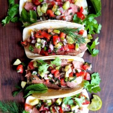 Lamb Tacos with Mediterranean Salsa