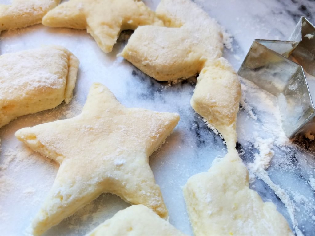 Lemony Biscuit Topping Cut into Stars