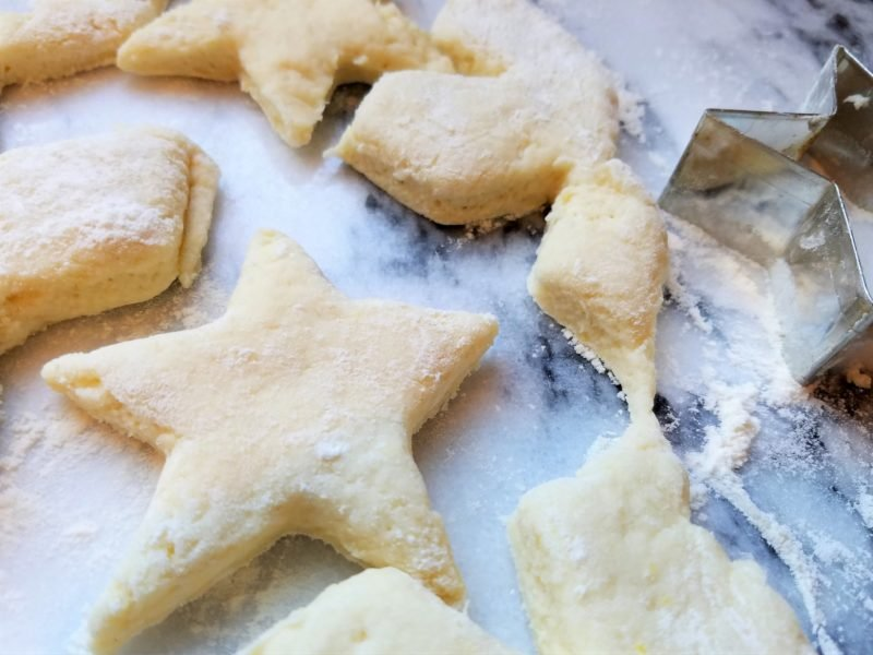 Biscuit Dough Cut into Stars.