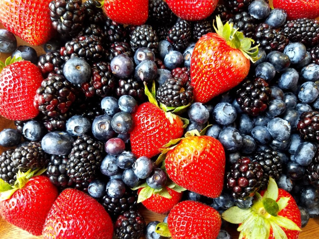Skillet Berry Cobbler with Strawberries Blackberries and Blueberries