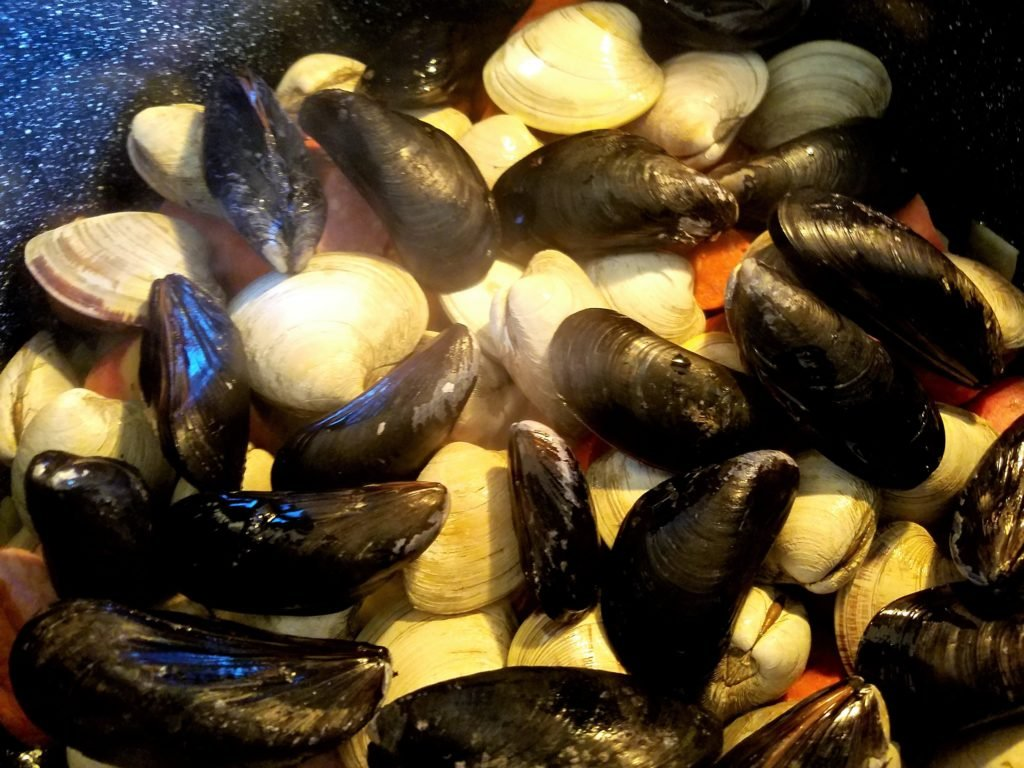 One Pot Clambake Clams and Mussels Added