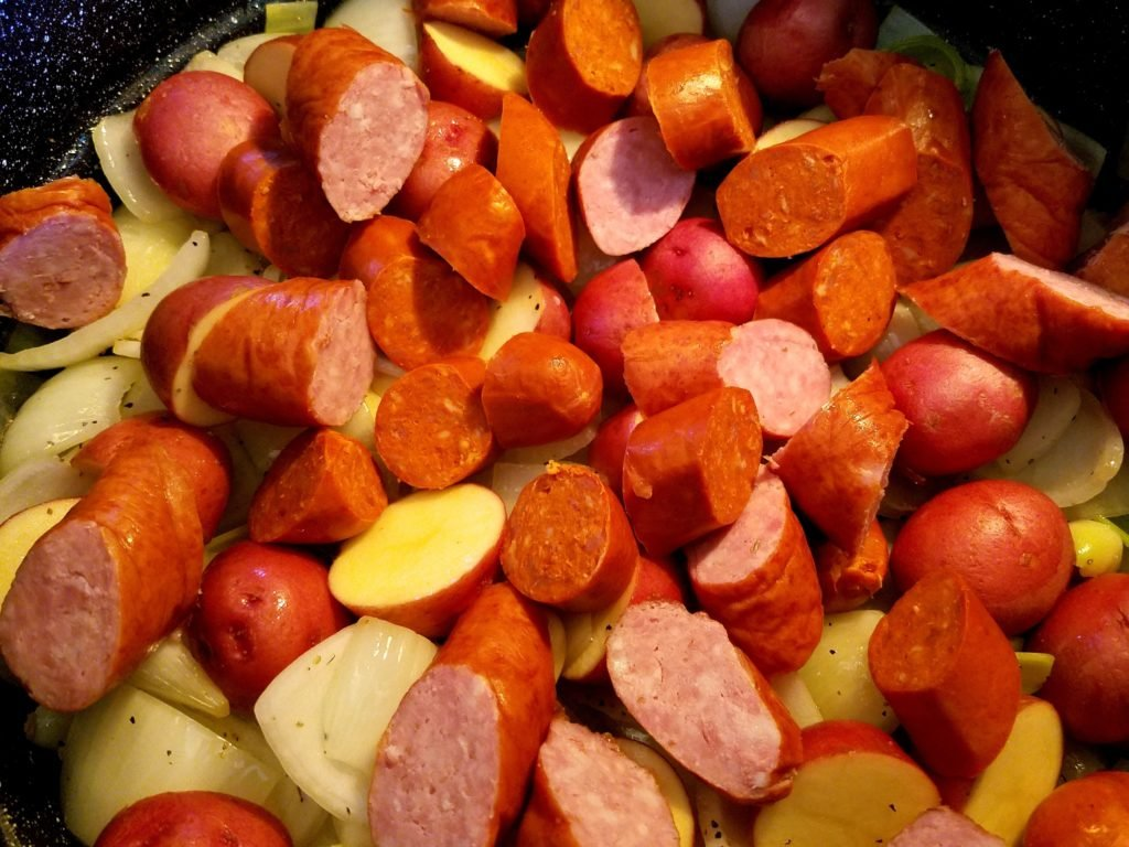 One Pot Clambake Kielbasa and Chorizo with Added