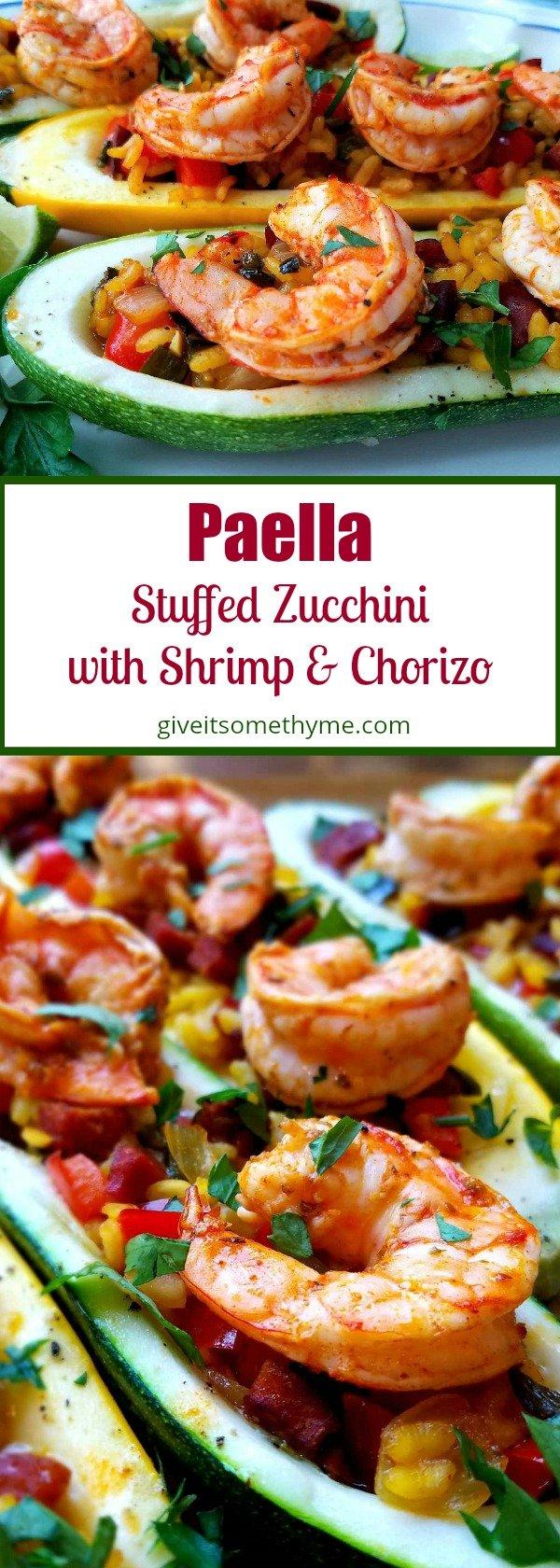 Paella Stuffed Zucchini with Shrimp & Chorizo - Give it Some Thyme