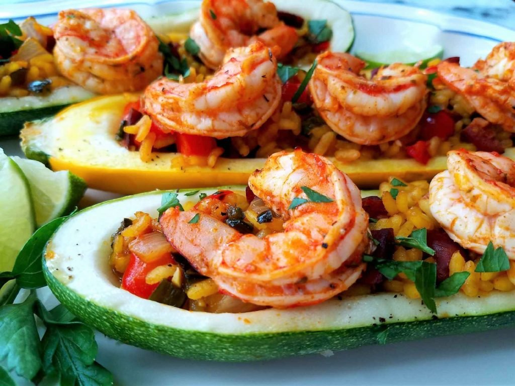 Paella Stuffed Zucchini with Shrimp and Chorizo Close Up