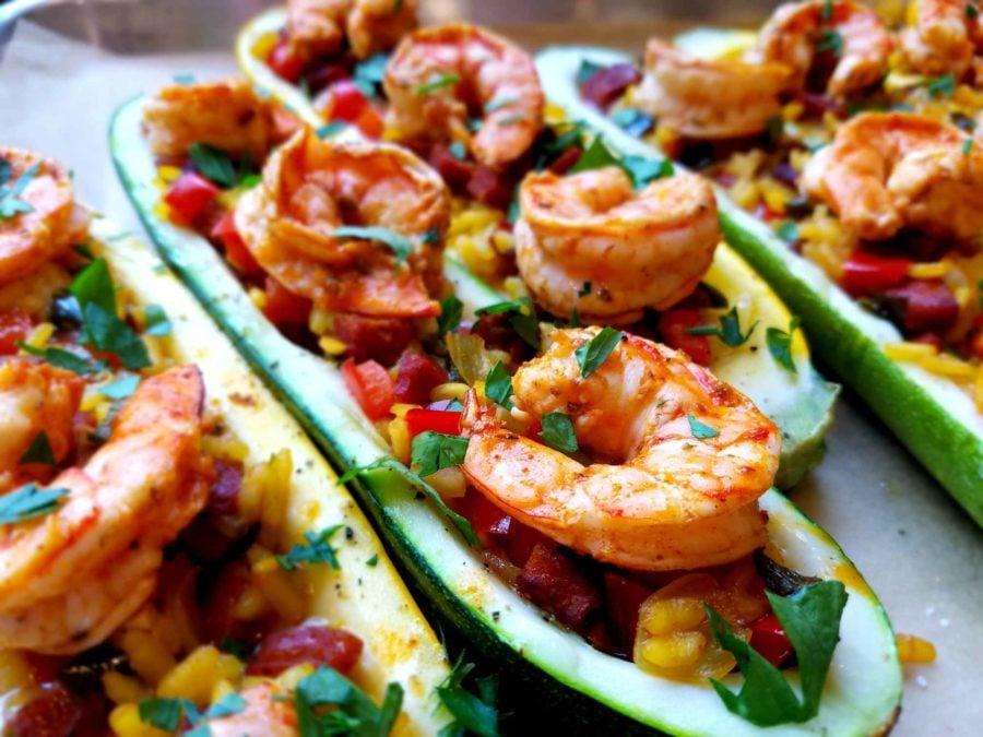 Paella Stuffed Zucchini with Shrimp and Chorizo