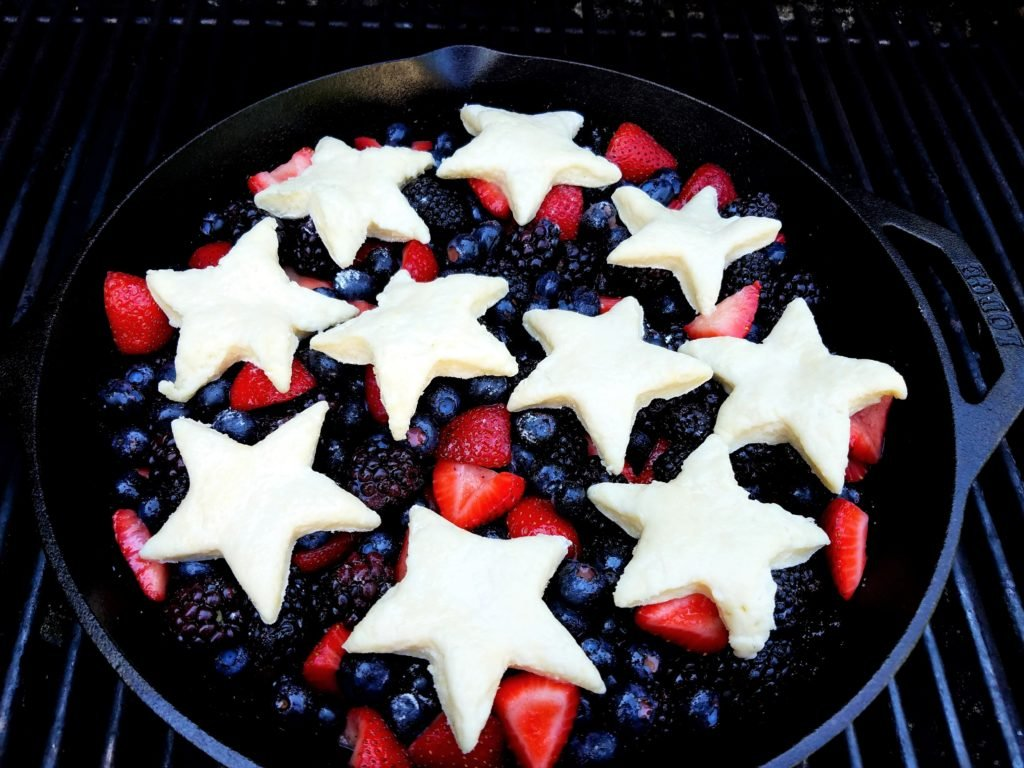 Skillet Berry Cobbler with Lemony Biscuit Topping on the Grill
