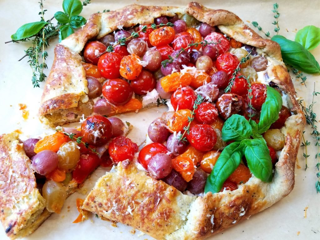Blistered Cherry Tomato and Grape Galette Closer Up