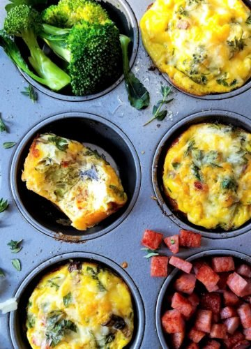 Broccoli Mushroom Frittata Muffins | giveitsomethyme.com – prep ahead recipe to make mornings on the go even easier. Freezer friendly too! #eggmuffins #eggmuffinshealthy #eggmuffinsbreakfast #eggmuffinsmealprep #eggmuffinsmakeahead #eggmuffinsfreezer #eggmuffinseasy #giveitsomethyme #breakfastmuffin #breakfast