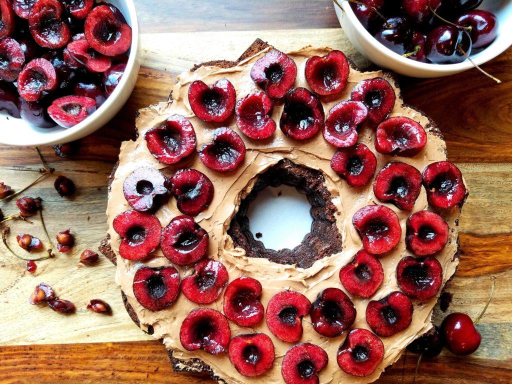 Dark Chocolate Cherry Bundt Cake Getting Assembled