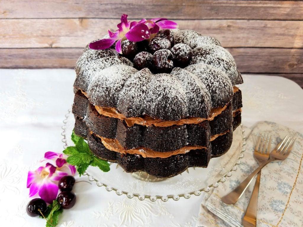 Dark Chocolate Cherry Bundt Cake