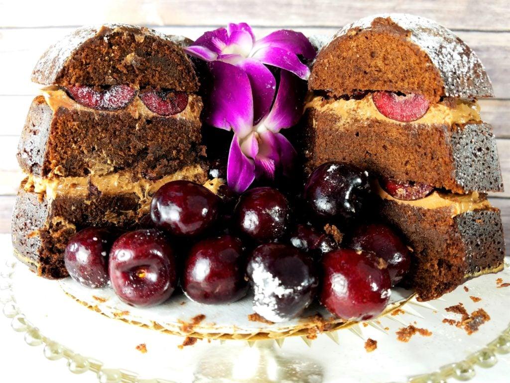 Dark Chocolate Cherry Bundt Cake Sliced