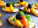 Grilled Peach Burrata Basil Crostini