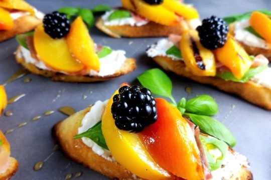 Grilled Peach Burrata Basil Crostini