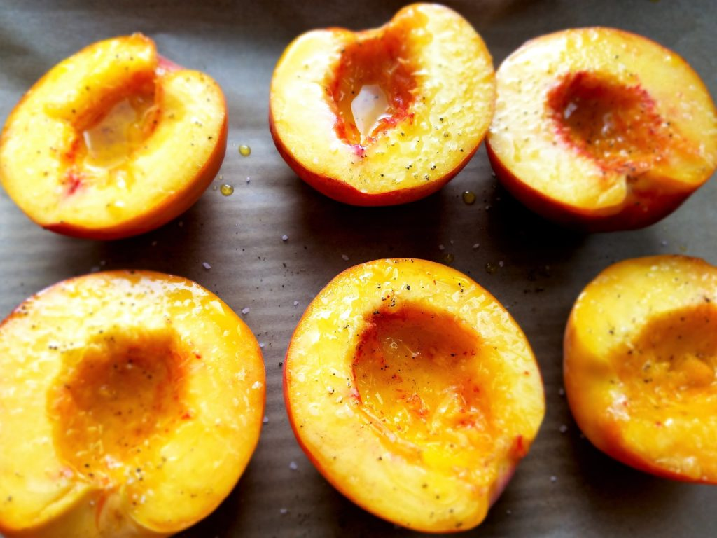 Peaches Prepped for Grill